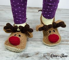 Reindeer Booties Pack - PDF Crochet Pattern - Baby, Toddler and Child Sizes - Baby Newborn . Reindeer Booties Pack - PDF Crochet Pattern - Baby, Toddler and Child Sizes - Baby Newborn Slippers, # . Mode Crochet, Diy Crochet, Crochet Crafts, Yarn Crafts, Crochet Projects, Knitting Projects, Crochet Boots, Crochet Baby Booties, Crochet Slippers