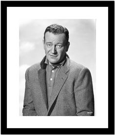 John Wayne in suit with popped collar Photo Portrait in Black and White Premium Art Print
