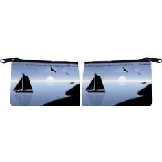 Rikki Knight Sail Boat Silhouette on Lake Design Scuba Foam Coin Purse Wallet - unisex - Affordable gift for all occassions