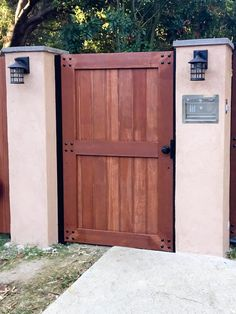 A redwood entry gate
