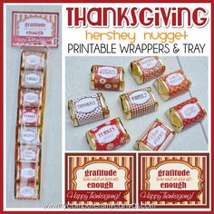 Printable Hershey Nugget Wrappers for THANKSGIVING, favor, gift, treat! #mycomputerismycanvas