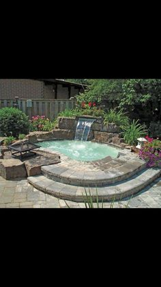 Hot tub a great example of a style pinsight from fellow pinner – Small Backyard Pools Oberirdische Pools, Swimming Pools Backyard, Pool Spa, Backyard Landscaping, Rock Pools, Small Backyard Design, Small Backyard Patio, Backyard Pool Designs, Backyard Ideas