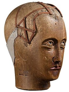 """Wood Milliner Head - Made in France, circa 1880 and marked """"Lou Per"""". Vintage Mannequin, Mannequin Heads, Wooden People, Wig Hat, Victorian Interiors, Art Watch, Artists And Models, Blanket Chest, 3d Artwork"""