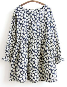 Buy Navy Long Sleeve Daisy Print Dress from abaday.com, FREE shipping Worldwide - Fashion Clothing, Latest Street Fashion At Abaday.com