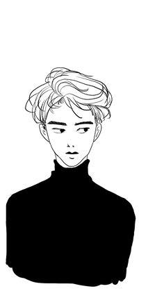 #dokyungsoo #exo #fanart Kpop Drawings, Art Drawings, Kpop Anime, Exo Stickers, Exo Fan Art, Boy Illustration, Cartoon Painting, Kpop Fanart, Boy Art