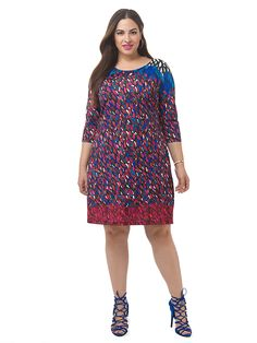 Petal Print Shift Dress by Jete Available in sizes 0X-5X