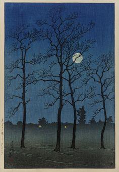 富山平野1920木版画、インクとカラー川瀬巴水