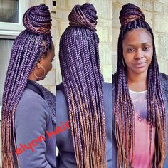 ombre box braids with purple and color 30