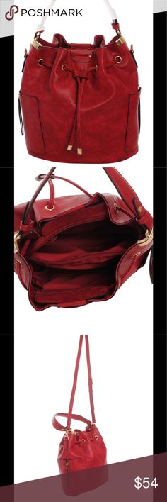 """Drawstring Cinch Bucket Purse Bag Red This bag is NEW and not used. SORRY NO TRADES. Size: 13.00""""(L) X 7.00""""(W) X 12.50""""(H) - Top Zipper Closure Side Zipper Pockets, Top Handle Drop 8.5"""" Adjustable Detachable Shoulder Strap Drop 23"""" at Longest length Material: Faux Leather - Goldtone Metal Decor, Inside Zipper Pocket Divider Inside Wall Zipper Pocket And Accessory Pocket Check out our other beautiful bags and bundle! Bags Shoulder Bags"""