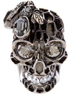 ☆ Alexander Mcqueen Honeycombed Skull Ring ☆