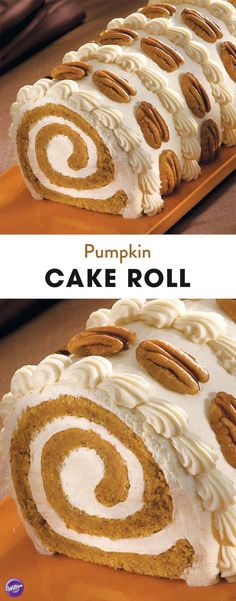 Pumpkin Roll Cake Pumpkin Cake Roll Recipe - Learn how to make a delicious pumpkin cake roll that is a treat for your eyes and your taste buds! This cake makes a perfect addition to your Thanksgiving sweet table. Makes about 16 servings. Pumpkin Roll Cake, Pumpkin Dessert, Pumpkin Rolls, Pumpkin Cakes, Cake Roll Recipes, Dessert Recipes, Salad Recipes, Cupcake Cakes, Cupcakes