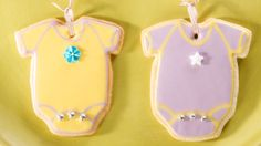 Dani Fiori, in-house stylist and owner of couture event accessories company Sweet dani B., bakes adorable baby one-piece cookies you'll want for your baby shower.