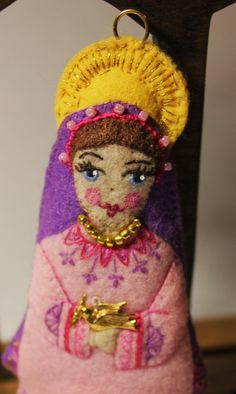 Doll  Hand Embroidered Nativity Ornament. by TheSnowQueensGarden, $29.50