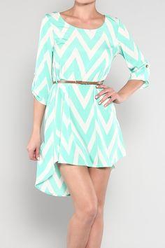 $39.99 Womens Medium Dress Chevron Hi Low Dress Mint Green