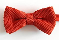 Mens Knit Bowtie.Orange  red  Bow Tie,Bowtie forParty.Wedding Bowties.