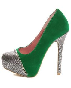 Promise Marino Green Metallic Cap-Toe Platform Pumps $39 #CelebrateSparkle