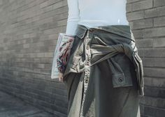 Edged Up Casual Skirts – http://tsangtastic.com   Instagram @tsangtastic  Summer Skirt Trend, Shirt Style Skirt, Tie Front Skirt, Faith Connexion, Stella McCartney Zip Front Point Sneaker