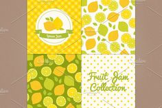 Lemon jam Graphics **Lemon jam collection** with gingham, polka dot, fruits seamless patterns and labelPerfect for pa by miumiu