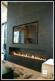 Corner Fireplace Ideas for Your Living Room to Improve Home Interior Visual Are you looking for some amazing ideas for your new corner fireplace? Explore the top best corner fireplace designs featuring luxury angled interior ideas and inspiration. Tv Above Fireplace, Linear Fireplace, Home Fireplace, Brick Fireplace, Living Room With Fireplace, Fireplace Ideas, Fireplace Glass, Fireplaces With Tv Above, Bioethanol Fireplace
