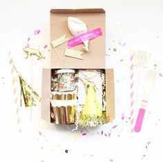 So, I'm going to take a mini break from all the holiday shanigans to discuss this This birthday in a box is PERFECT for sending in the mail to loved ones, friends & family. I put this little box toge Diy Birthday Box, Happy Birthday Banners, 30th Birthday, Birthday Gifts, Diy Gifts, Great Gifts, Party In A Box, Diy Party Boxes, Ideas Party