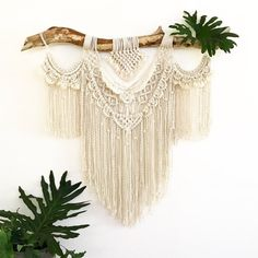 About this Macrame Wall Hanging Lacey She measures approximately 100cm wide x 120cm length A combination of knots come together to form a feminine and frilly vision. Feel free to contact me if you would like your design customised in any way.