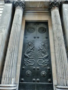 Bank of England, London     Doors designed by sir charles wheeler. In the late 1930s, fitted into soane's false entrances in his perimeter wall of the early c19