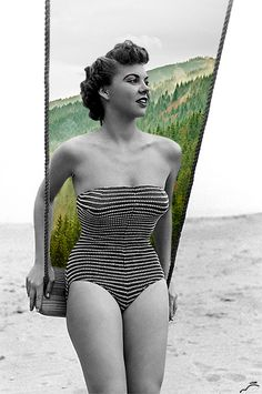 "pin-up girl; an icon of sexy and HER THUGHS TOUCH AND SHE'S GOT CURVES! Look for better body imaging. Stick-thin girls may look ""cute"" in a bikini, but real women look sexy in bikinis, clothes, and without any on at all. Retro Swimwear, Vintage Swimsuits, Vintage Bikini, Summer Swimwear, Photomontage, Vintage Mode, Vintage Ladies, Vintage Woman, Art Du Collage"