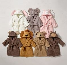 RH Baby & Child's Animal Bath Wrap:With faces sewn to resemble a cast of beloved critters, our cozy wraps provide a warm and welcoming embrace before and after a bath or swim. Toddler Outfits, Baby Boy Outfits, Kids Outfits, Kids Robes, Kids Gown, Kid Styles, Cute Baby Clothes, Little Girl Dresses, Kind Mode