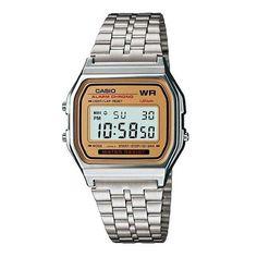 f4c6c374e8951 Casio A159wa-9 Gold Led Relógio Casio, Relógios Retrô, Relógios Para Homens,
