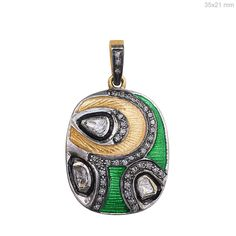Rose Cut Diamond Pave 925 Sterling Silver Enamel 14k Gold Jewelry READY TO SHIP #raj_jewels