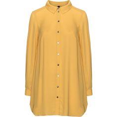 Manon Baptiste Curcuma Plus Size Long line chiffon shirt (1,370 EGP) ❤ liked on Polyvore featuring tops, curcuma, plus size, plus size long sleeve tops, sheer long sleeve top, long sleeve button shirt, sheer top and plus size chiffon tops