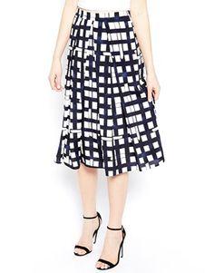 Asos midi skirt in check print with flecks of blue