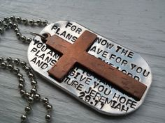 Men's Bible Verse Dog Tag Necklace. Jeremiah 29:11  Stamped on aluminum and adorned with a textured copper cross.