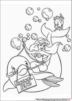 Dibujos de La Sirenita para Imprimir y Colorear