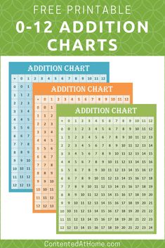 These FREE printable addition charts are perfect for hanging on the wall or adding to student binders. Great for homeschool math practice! Click to download your free math printable!