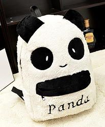 Sweet Panda Pattern and Velour Design Satchel