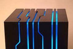 Custom computer case top. Awesome lighting design. I would like an entire case like this, but with a red light instead.