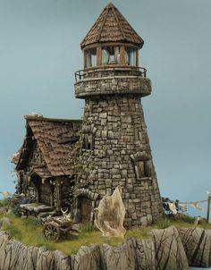 Fantasy City, Fantasy House, Miniature Houses, Miniature Fairy Gardens, Fairy Houses, Dog Houses, Figurine Warhammer, Doll House Crafts, Wargaming Terrain