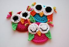 Crochet Owl Appliques, I like the different eyes