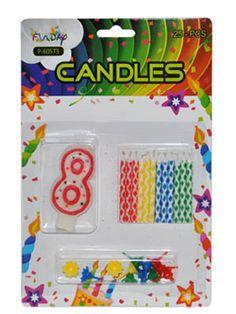 Verjaardag kaarsen set nummer 8. Rode kaarsen set met het cijer 8. Deze kaarsen prikt u bijvoorbeeld in een verjaardagstaart. U ontvangt een groot cijfer en 12 kleine gekleurde kaarsen. Inclusief prikker.