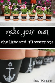 I LOVE these chalkboard flowerpots. They are so much fun, and would make great gifts.