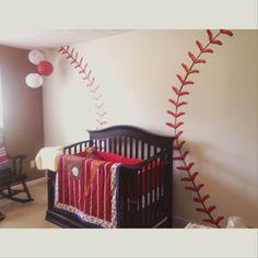 Baseball theme nursery painting