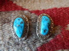 Vintage Kingman turquoise sterling Native American jewelry earrings southwest jewelry quarter horse paint horse pow wow saddle Texas Breyer by CherokeeKachinaCasey on Etsy