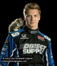 Racecar driver Josef Newgarden later adopted the kitten he posed with. http://www.catster.com/lifestyle/sexiest-cat-guys-2013