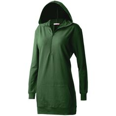 Regna X Women's Long sleeve Casual Hoodie dress with kangaroo pocket... (€8,39) ❤ liked on Polyvore featuring dresses, plus size green dress, plus size long sleeve dresses, green long sleeve dress, plus size dresses and green dress