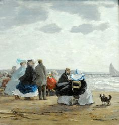 On the Beach, Dieppe, Eugène Boudin (French, Honfleur 1824–1898 Deauville)1864. MET, NYC