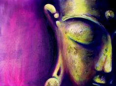 A small Buddha Painting: Yellow / Magenta with gold bronze. Oil and acrylic on wood - 21 x 29 cm. (8:27 x 11:42 inches)