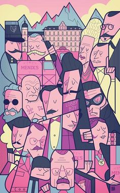 The Grand Budapest Hotel Illustration Sketches, Illustrations Posters, Ale Giorgini, Grand Budapest Hotel Poster, Wes Anderson Movies, Films Cinema, Alternative Movie Posters, Design Graphique, Art Mural