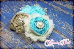 Turquoise, Tan Burlap Hair Piece, Aqua Headband, Baby Hair Accessory, Lace, Country, Baby Hair Bows, Burlap Flower Bow, Fabric Flower Brooch on Etsy, $18.00