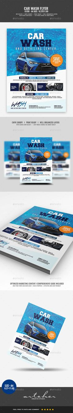 Buy Car Wash Services Flyer by Artchery on GraphicRiver. Car Wash Services Flyer Boost your company's sales and attract new customers! This Car Wash Services Flyer has been d. Garages, Car Wash Services, Business Flyer Templates, Business Flyers, Business Company, Brochure Template, Corporate Flyer, Corporate Business, Auto Service